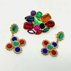 Vintage Multi-colored Stone Brooch with Earrings